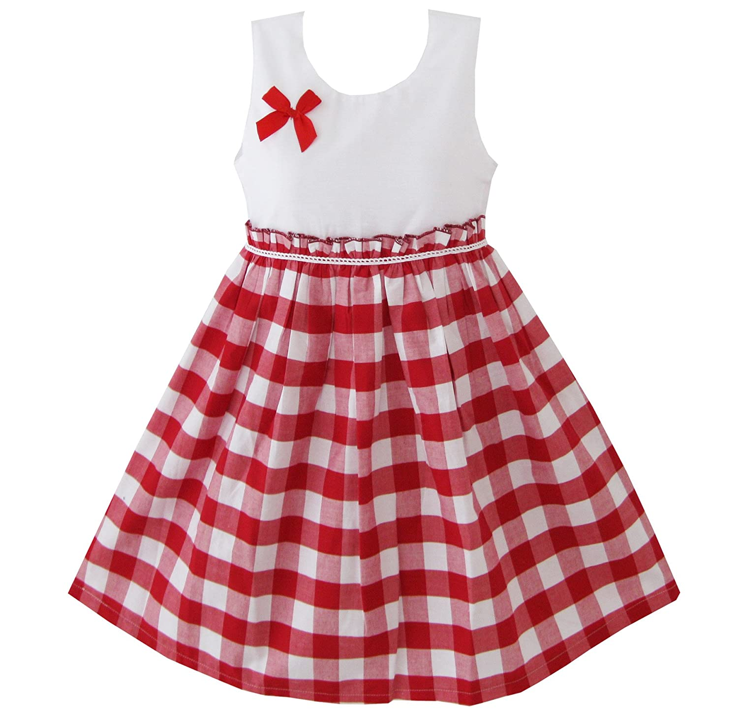 Kids 1950s Clothing & Costumes: Girls, Boys, Toddlers Sunny Fashion Girls Dress Red Tartan Sundress  AT vintagedancer.com