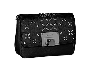 f1527bebfe11 MICHAEL Michael Kors Women s Tina Small Clutch Cross Body Leather Handbag  (Black)