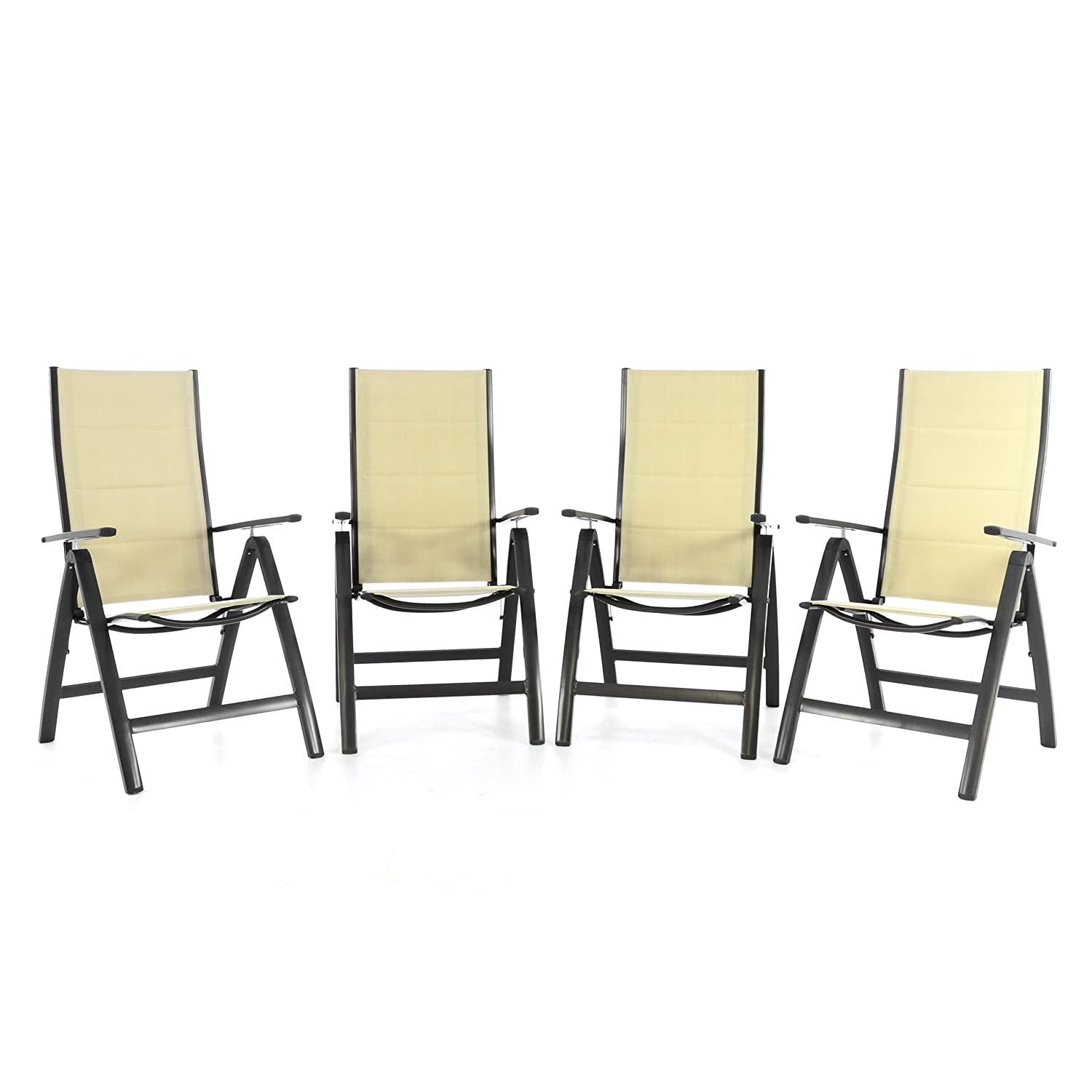 4er set klappstuhl deluxe alu gepolstert textilene creme gartenstuhl relaxstuhl campingstuhl. Black Bedroom Furniture Sets. Home Design Ideas