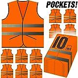 PeerBasics, Pocket Safety Vest 10 Pack, Orange Reflective High Visibility, Hi Vis Silver Strip, Men & Women, Work, Cycling, Runner, Surveyor, Volunteer, Guard, Road, Construction (10, Neon Orange)
