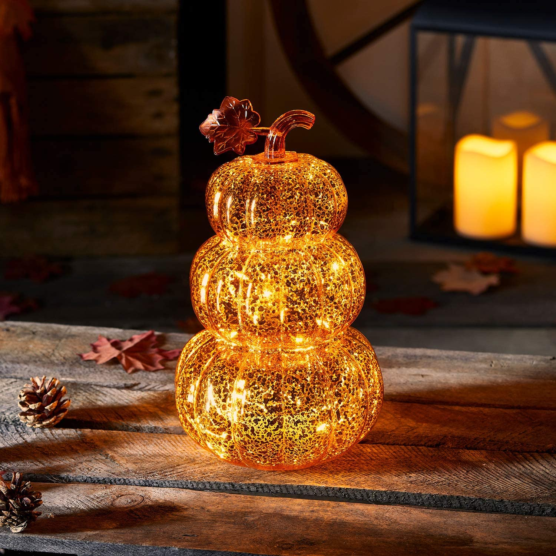 Lights4fun, Inc. Orange Glass Pumpkin Stack Battery Operated LED Fall Thanksgiving Light Up Decoration