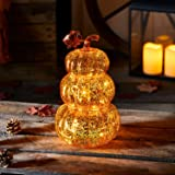 Lights4fun, Inc. Orange Glass Pumpkin Stack Battery Operated LED Fall Thanksgiving Light Up Decoration