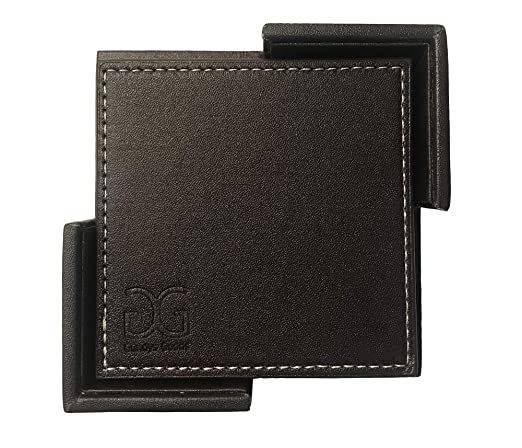 Amazon.com | Drink Coasters Set of 6 With Holder, Dark Brown Non-Slip Square PU Leather Coasters for Table Protection, Prevents Scratching or Damaging ...