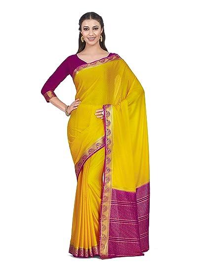 d5c7fbc6f95283 Mimosa Art Crape silk Wedding saree Kanjivarm style With Contrast Blouse  Color: Yellow (4321-2267-2D-GLD-RNI): Amazon.in: Clothing & Accessories