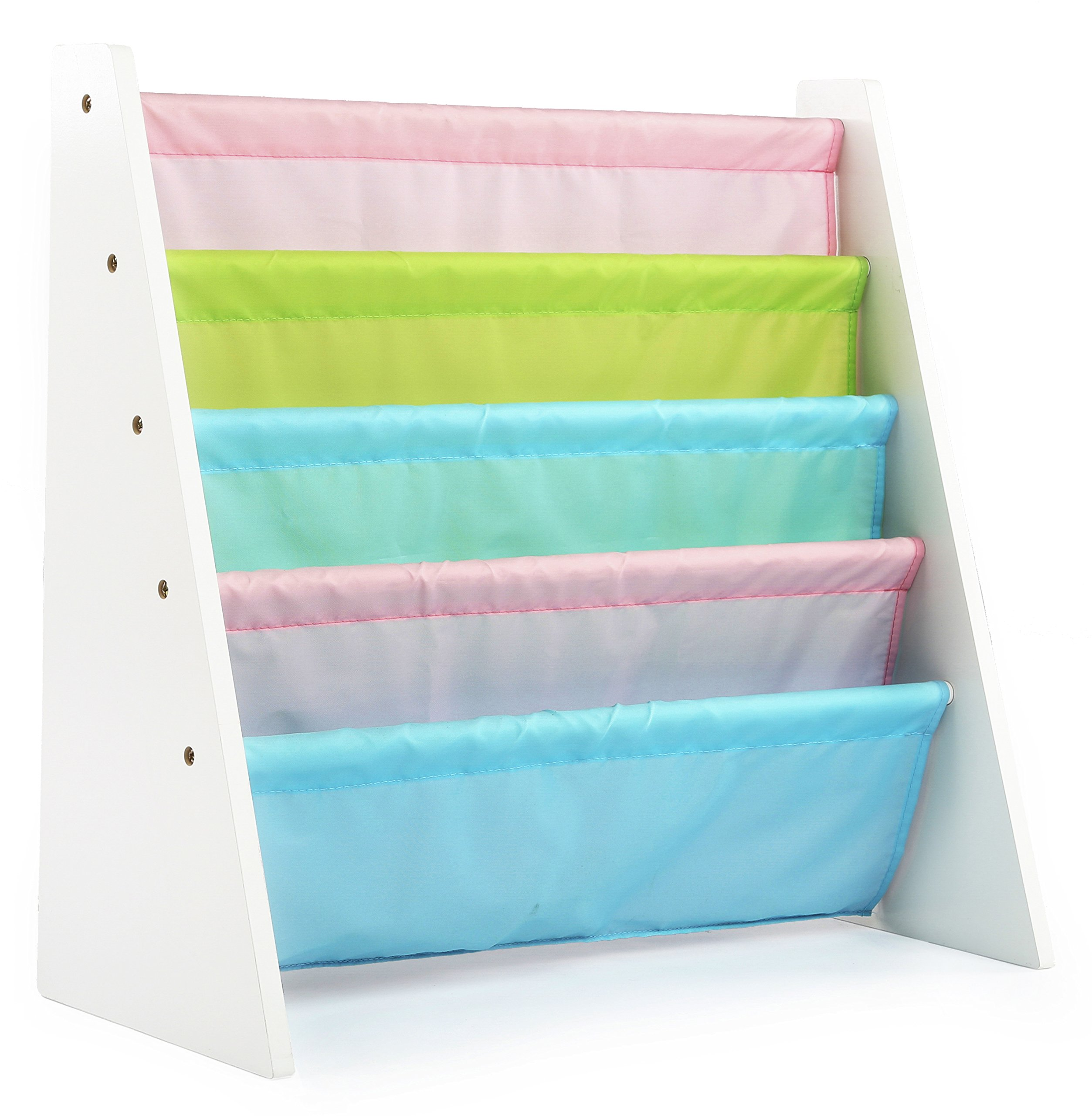 Tot Tutors Kids Book Rack Storage Bookshelf, White/Pastel (Pastel Collection)