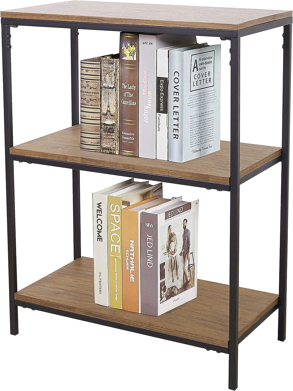 3-Tier Bookshelf, Industrial Vintage Bookcase, Rustic Display Wood Storage Shelf and Metal Frame(Brown)