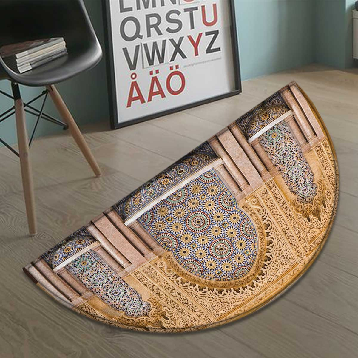 Suchashome Moroccan half moon door mats for home Typical Moroccan Tiled Fountain in the City of Rabat Near Hassan Tower Bath Mat Bathroom Mat with Non Slip Apricot Pale Brown size:35.5''x23.7''