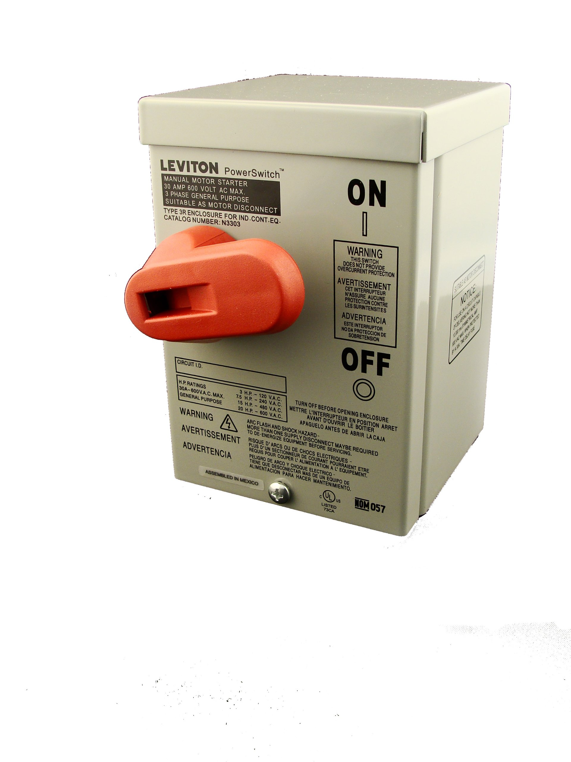 Leviton N3303-DS 30 Amp, 600 Volt, Toggle In Type 3R Enclosure Three-Pole, Industrial Grade, Grounded To Enclosure, Gray