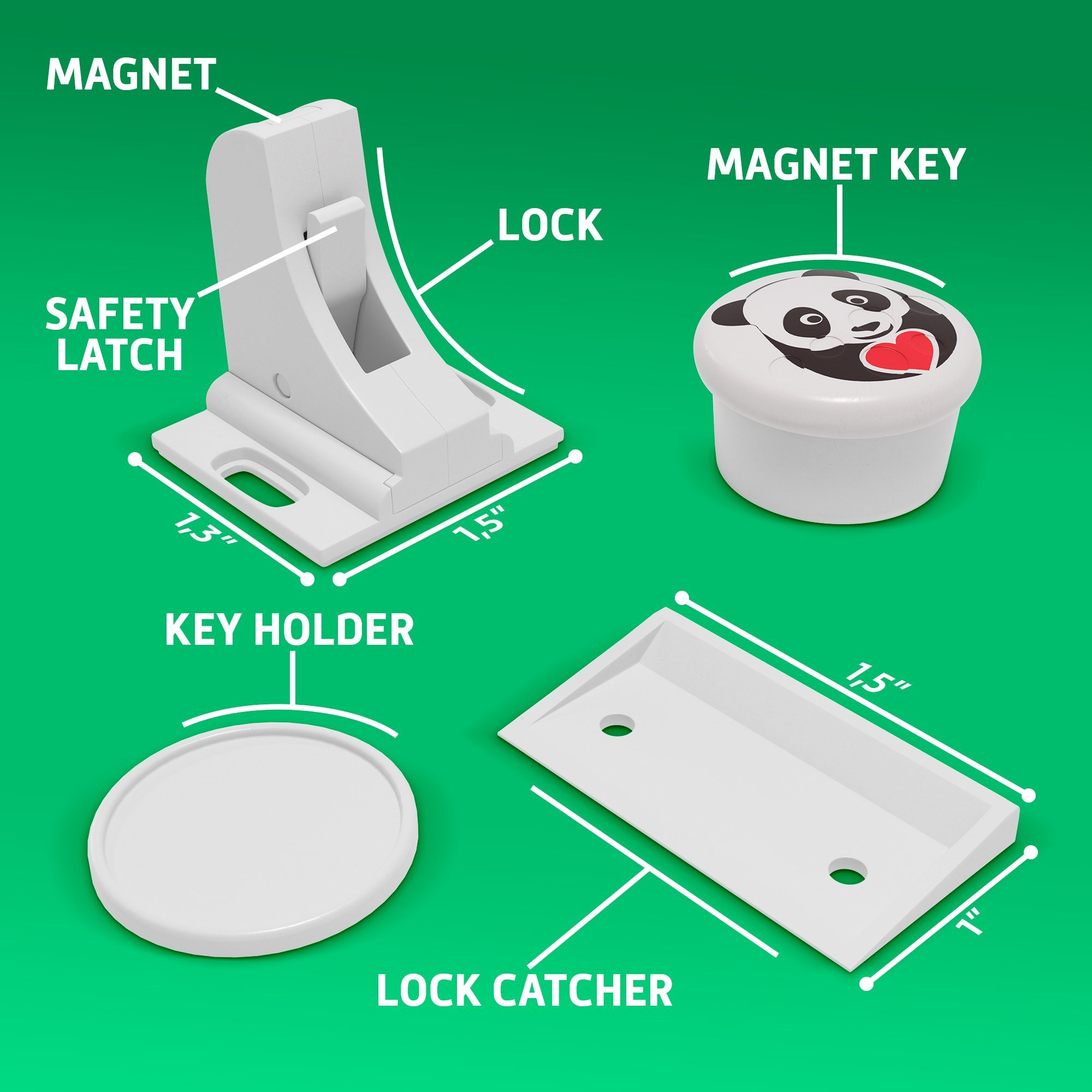 Child Safety Magnetic Cabinet Locks - Invisible Baby Proof Latch Set 8 Locks & 2 Keys Heavy Duty Locking System for Proofing Cabinets Drawers Doors Kitchen with 3M Adhesive (Tools aren't Required) by D-Panda-Safety (Image #4)