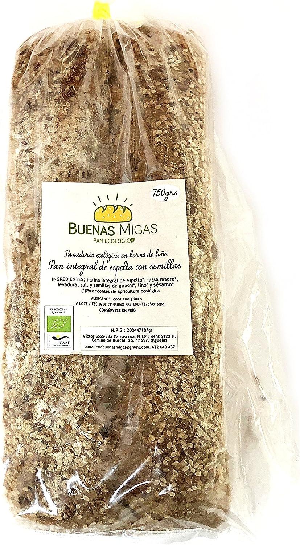 Pan ecológico artesanal con masa madre en horno de leña. Sabor tradicional exquisito. Envío GRATIS 24h. (Pan integral de espelta con semillas 750gr aprox.): Amazon.es: Alimentación y bebidas