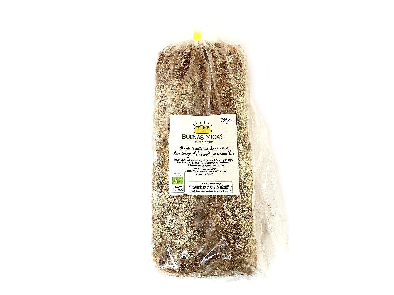 Pan ecológico artesanal con masa madre en horno de leña. Sabor tradicional exquisito. Envío GRATIS 24h. (Pan integral de espelta con semillas 750gr aprox.