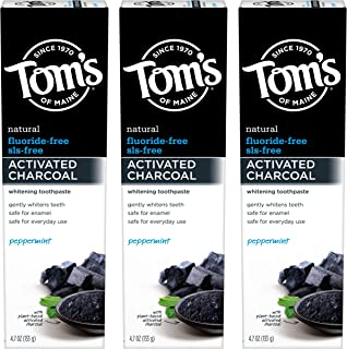 product image for Tom's of Maine Activated Charcoal Toothpaste, Charcoal Toothpaste, Fluoride Free Toothpaste, Peppermint, 4.7 Ounce, 3-Pack