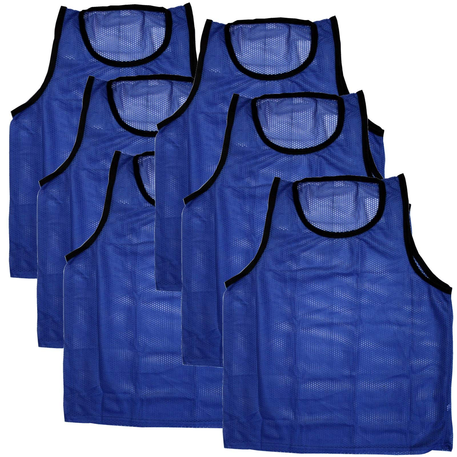 Bright Sun 6 pcs Scrimmage Vests Pinnies Soccer Youth Blue #BDMN