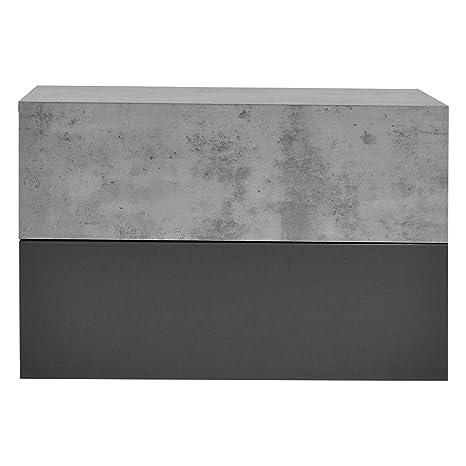 [en.casa]®] Mesita de Noche de Pared con 2 x cajón - Aspecto de hormigón/Gris Oscuro - 46x30x15cm