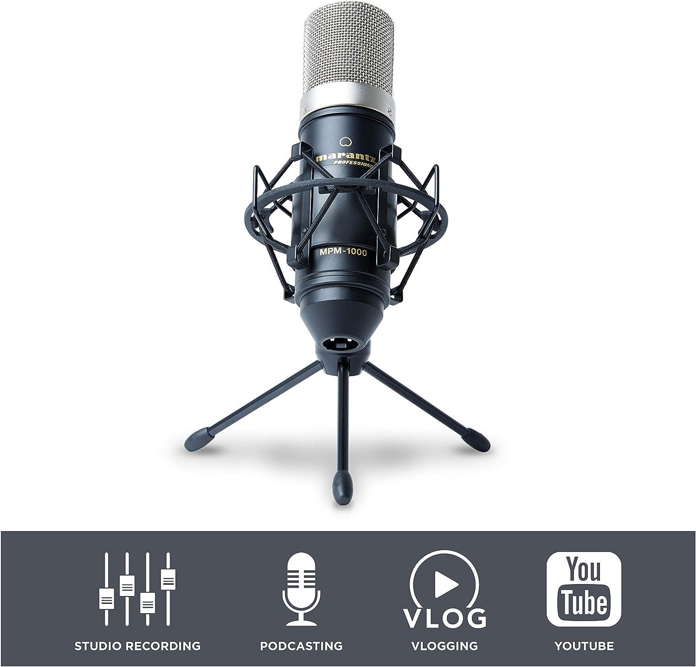 Marantz Professional MPM-1000 - Мicrófono de condensador para grabaciones de estudio con soporte de escritorio y cable, ideal para pódcasts y streaming