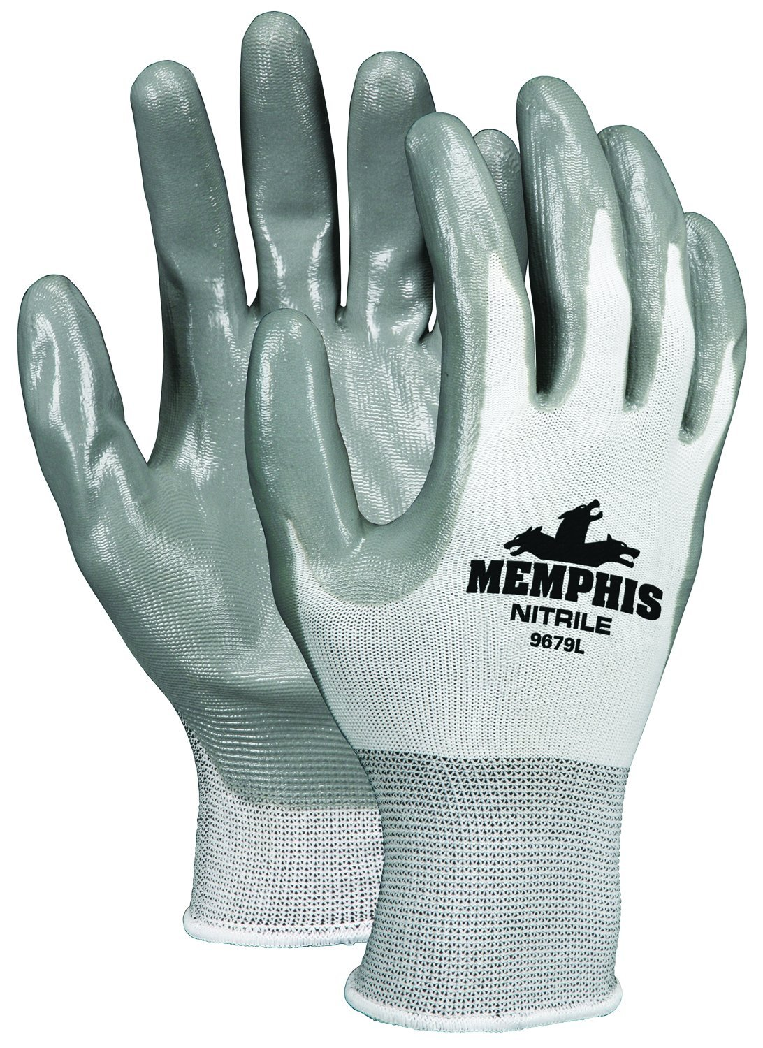 MCR Safety 9679S Memphis Nylon Shell Yellow Hem Gloves with Gray Nitrile Dipped Palm and Fingers, Gray/White, Small, 1-Pair