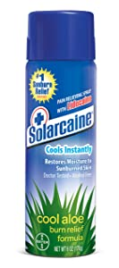 Solarcaine Cool Aloe Burn Relief Spray with Lidocaine and Aloe Vera, Doctor Tested, Fragrance Free, Alcohol Free and Non-irritating, #1 Sunburn Relief Brand (6 Ounce Spray)