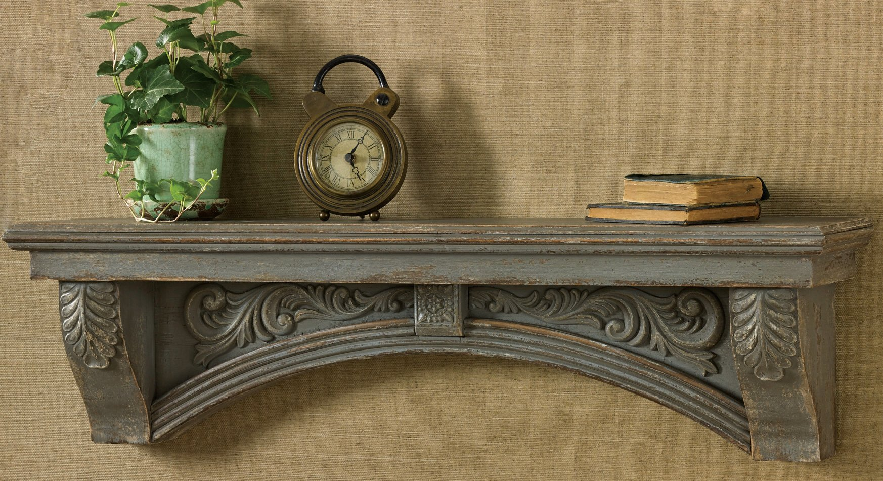 Mantel Shelf Aged Gray Dimensions: 9.25''h X 34.5''w X 6.5''d