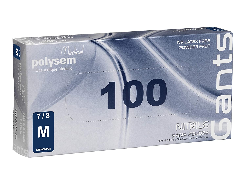 talla M 7//8 Guantes de examen de nitrilo sin polvo Polysem caja de 100 unidades