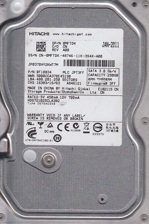 Hitachi 250GB SATA 3.5 Hard Drive HDS721025CLA382 MLC JPT3FF PN 0F10834