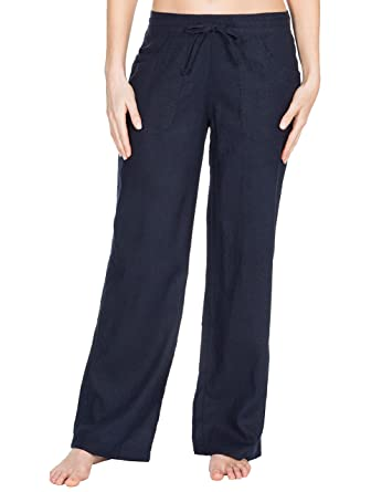 e8ce7413072dd INSIGNIA Ladies Womens Linen Casual Trousers Bottoms Size 10-18 (Navy