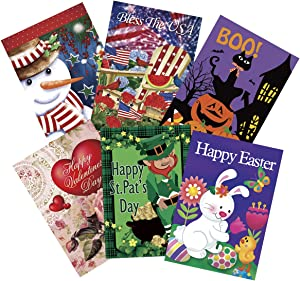 Morigins Seasonal Garden Flag Set for Outdoors Double Sided 12 x 18 Polyester Flags of 6