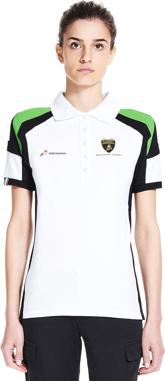 LAMBORGHINI Automobili Squadra Corse Women's Polo Shirt, White 81P6Rsugt5L