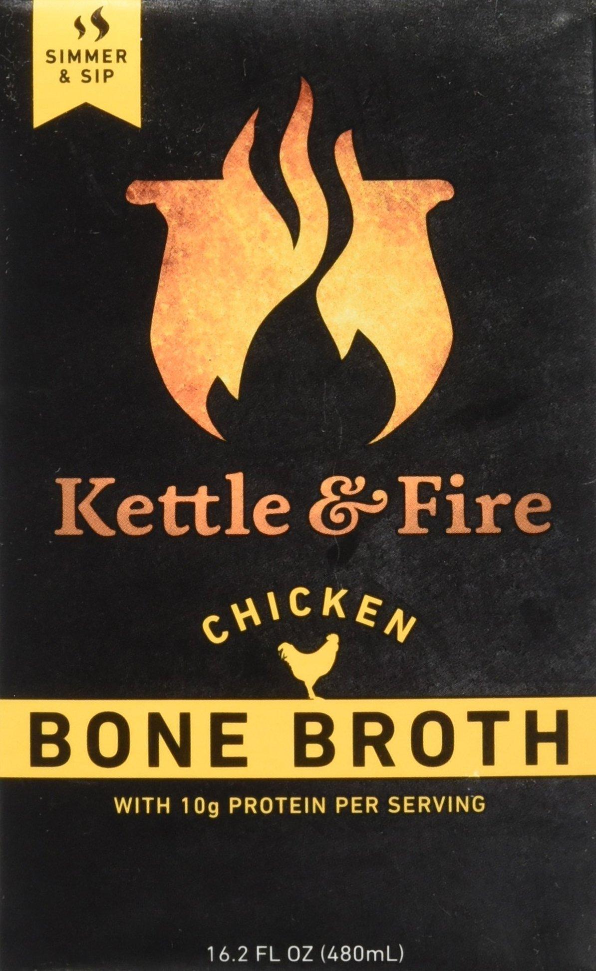 Kettle & Fire Chicken Bone Broth - Organic, Collagen-rich Chicken Bone Broth,Pack of 2