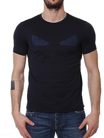 a6776eb85c13 Fendi Homme FY0626OKLF0CRH Bleu Coton T-Shirt  Amazon.fr  Vêtements ...