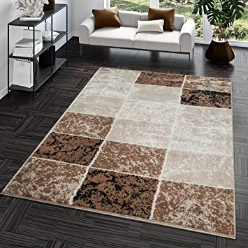Tapis Abordable Carreau Design Moderne Tapis Pour Salon Brun Beige