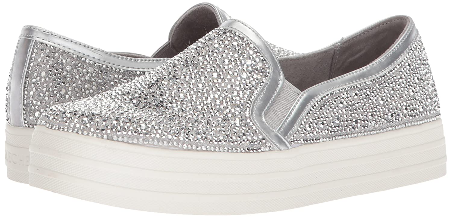Skechers Damen Double up Glitzy Gal Slip on Sneaker, Silber