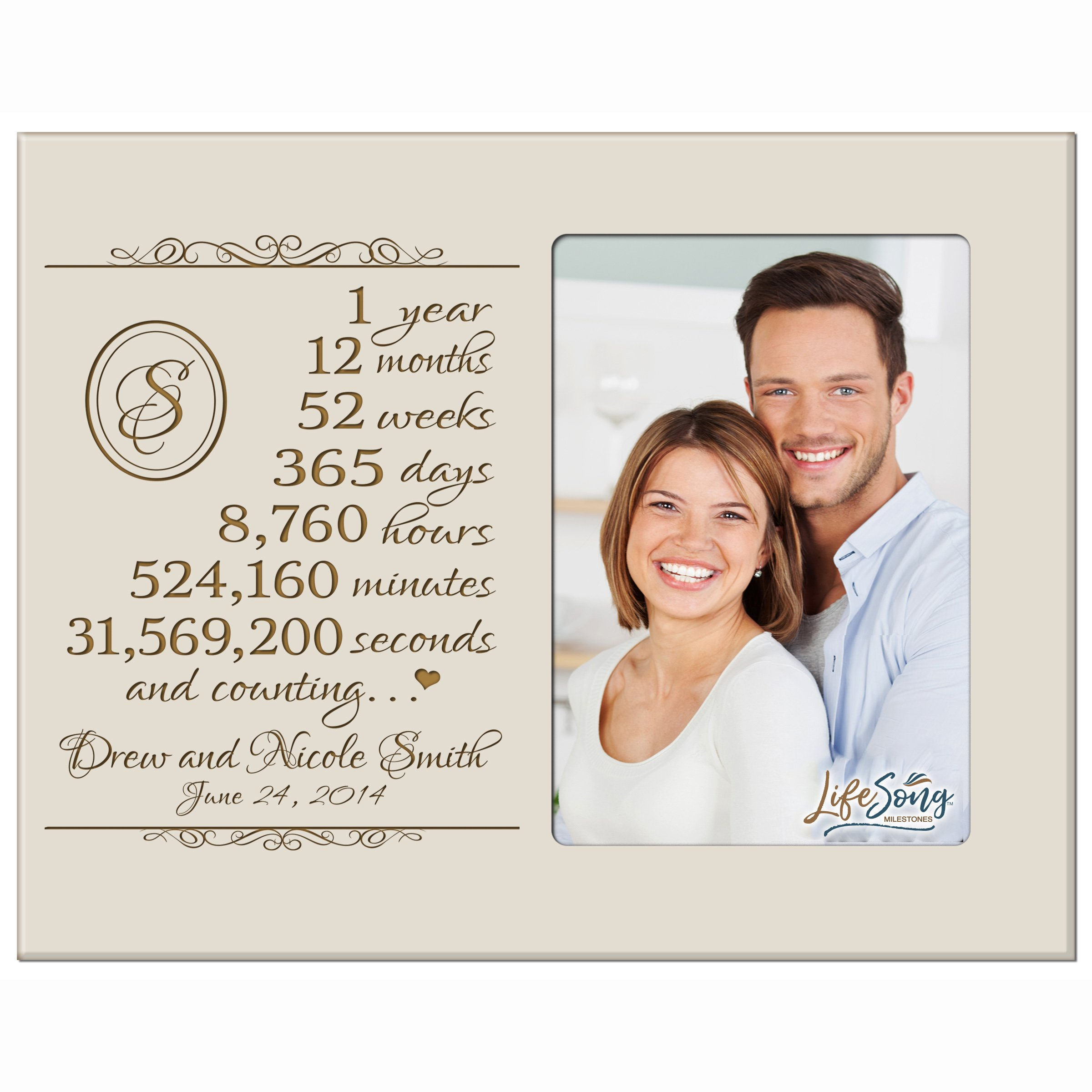 LifeSong Milestones Personalized one Year for her him Couple Custom Engraved Wedding Gift for Husband Wife Girlfriend Boyfriend Photo Frame Holds 4x6 Photo (Ivory)