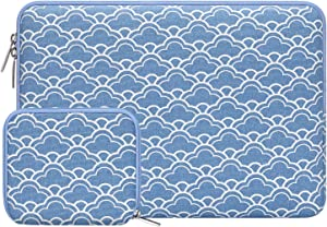 MOSISO Laptop Sleeve Compatible with 13-13.3 inch MacBook Pro, MacBook Air, Notebook Computer with Small Case, Canvas Cloud Pattern Portable Protective Carrying Bag Cover, Serenity Blue