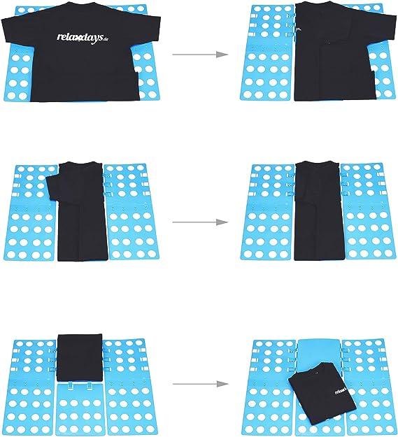 Faltbrett f/ür Shirts Flip B x T: 68 x 57 cm flexibel Hemden Relaxdays 3X W/äschefalter 3 klappbar Generation Fold blau
