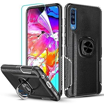 LeYi Funda Samsung Galaxy A70, Carcasa con HD Protector de Pantalla 360 Grados Metal Magnetica Anillo Soporte Hard PC y Soft TPU Gel Silicona Bumper ...