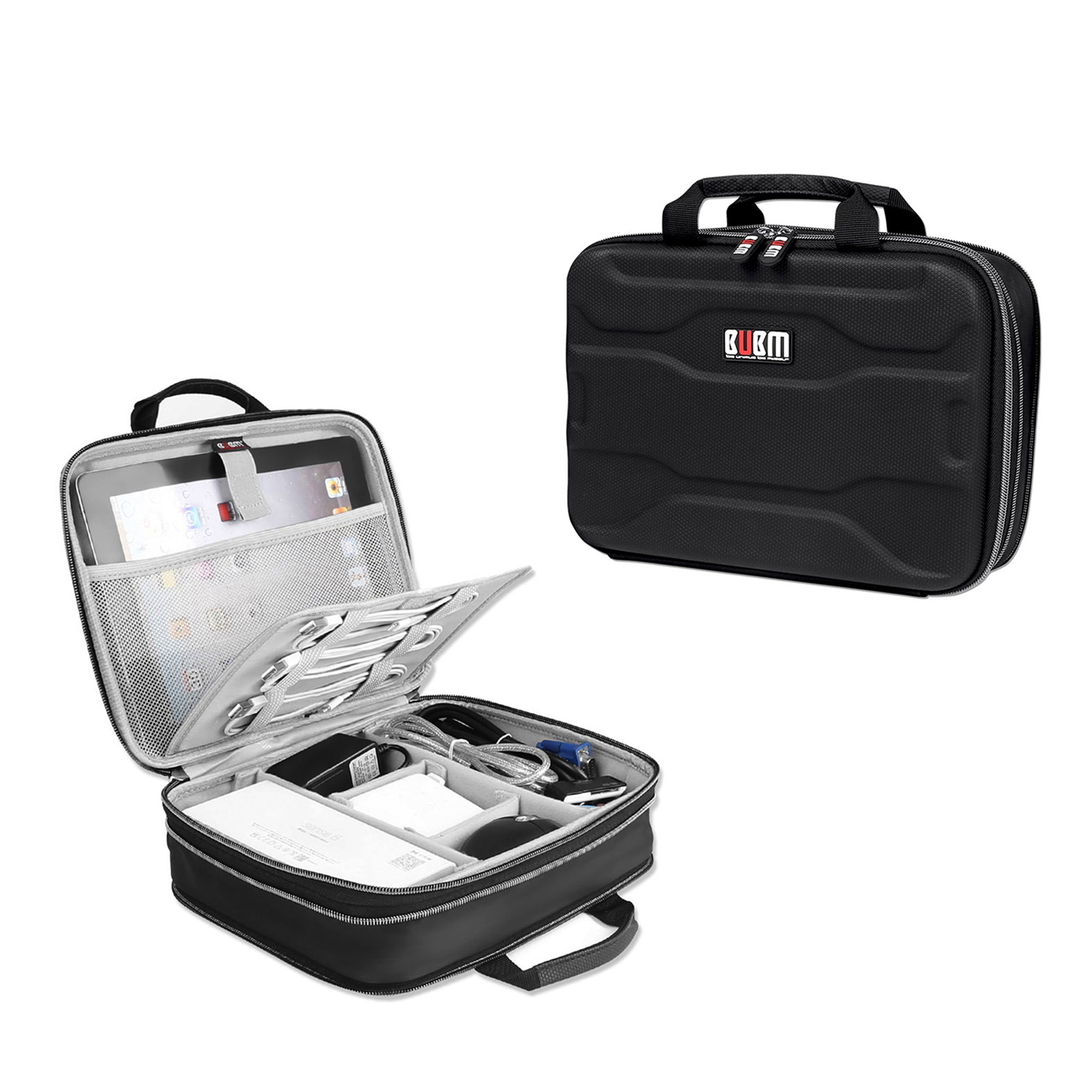 Travel Bag Organizer Electronics Organizer - BUBM Cable Organizer Storage Bag for iPad Mini,Power Bank,USB Cable,Flash,Hard Drive, Portable Hard Shell Travel Gadget Bag,2 Year Warranty(S) by BUBM