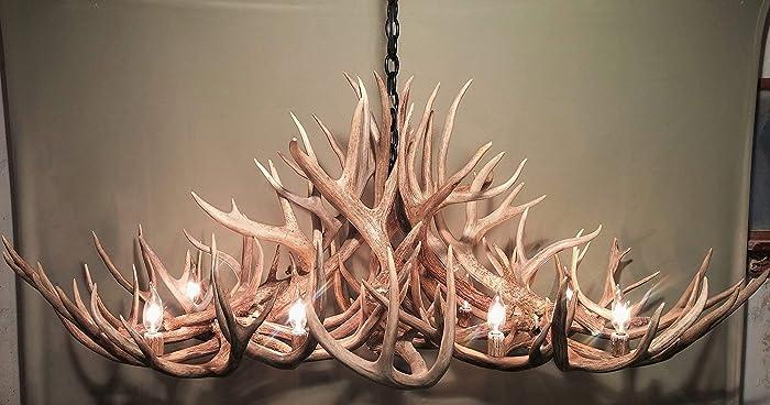 real antler chandelier double height real antler chandelier oblong lights shed art elk covered sockets handmade amazoncom art