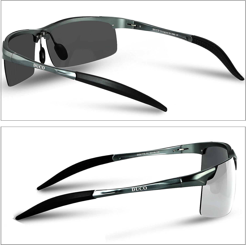 Duco Occhiali da sole polarizzati uomo Occhiali sportivi Occhiali per la guida telaio in metallo 8177S