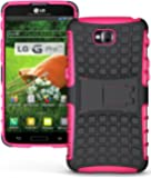 Heartly Flip Kick Stand Hard Dual Armor Hybrid Rugged Bumper Back Case Cover For LG G Pro Lite D680 D686 - Pink