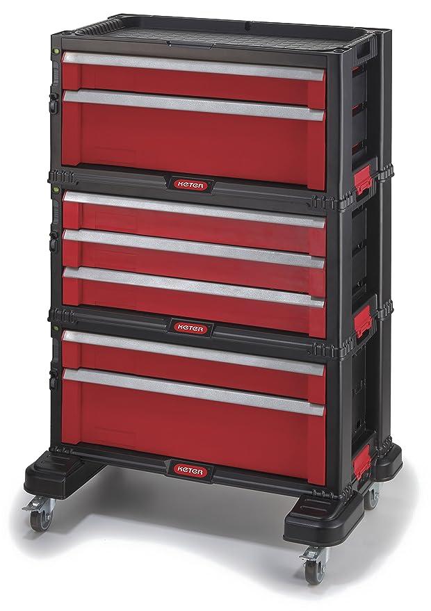 Curver 223044 Carrito Organizador con 7 cajones, Negro Y Rojo, 54.2x26.9x72.2 cm: Amazon.es: Jardín