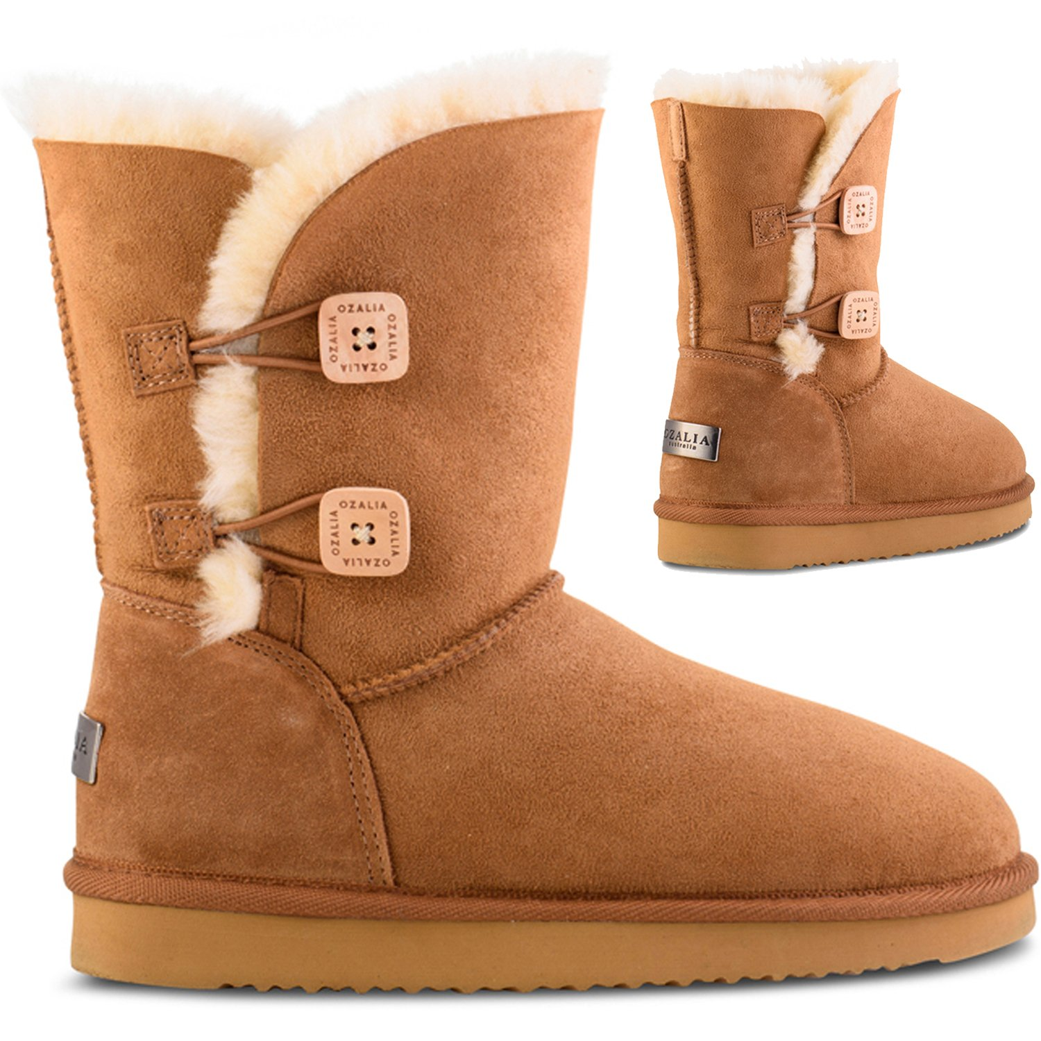 OZALIA Snow Boots Women Twin Button - Leather Winter Boots For Ladies - Australian Sheepskin Mid Calf Boots To Warm Your Feet All Winter