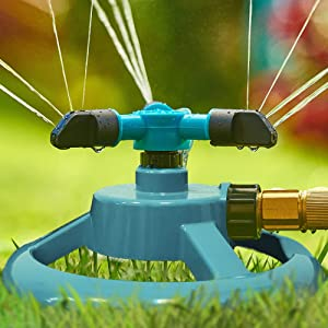 Trazon Garden Sprinklers for Yard 360 Degree Rotating, Lawn Sprinklers for Hoses, Large and Small Areas Up to 3000 Sq. Ft, Water Sprinkler for Lawn, Plants, Garden Hose Sprinklers Heavy Duty (Blue)