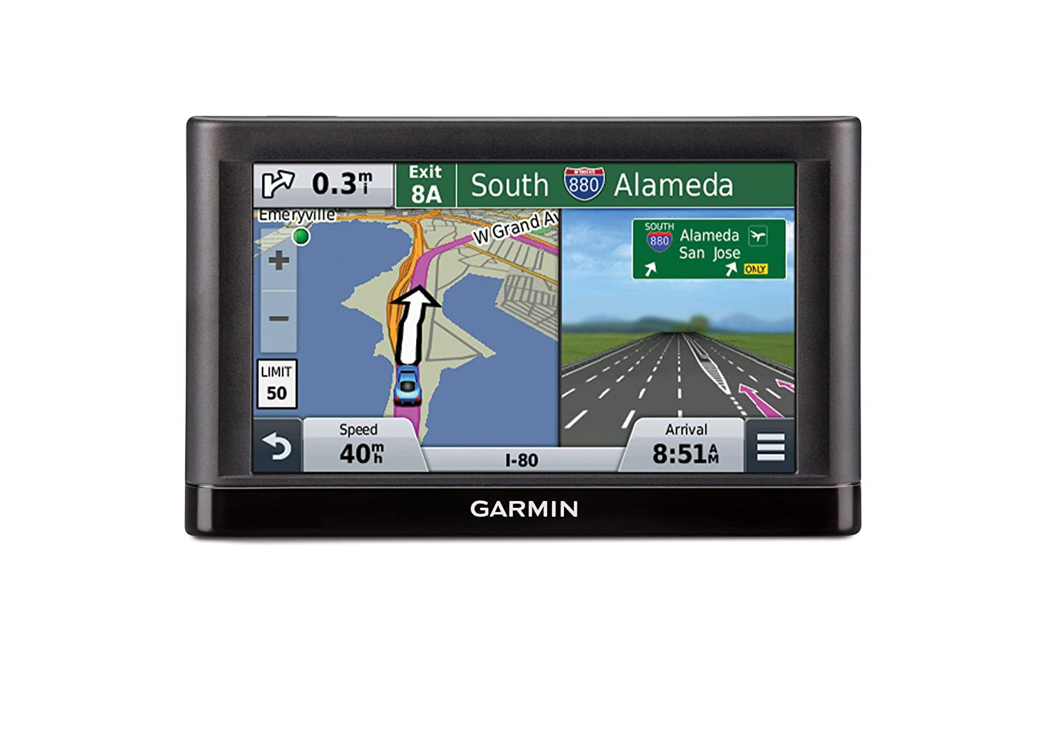 Amazon Com Garmin Nuvi  Gps Navigators System With Spoken Turn By Turn Directions Preloaded Maps And Speed Limit Displays Lower  U S States Cell