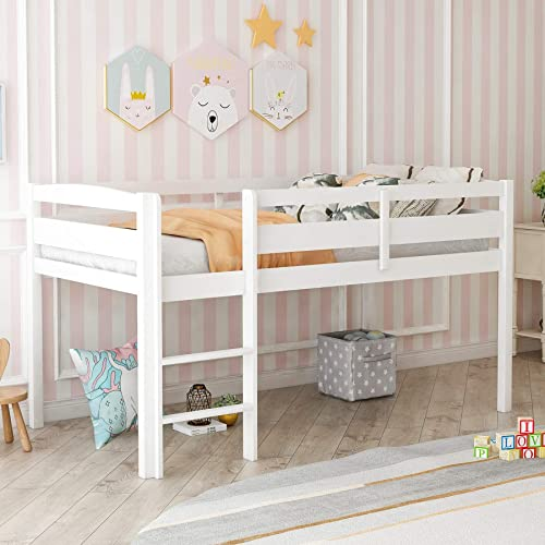 P PURLOVE Loft Bed Twin Wood Low Loft Bed Frame