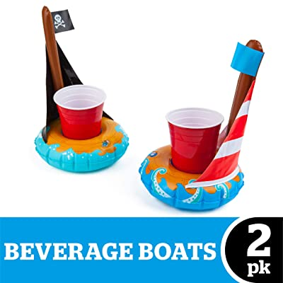 BigMouth Inc. Inflatable Boat Drink Holder Float, 2-Pack Includes Pirate Ship and Sail Boat Drink Floats: Toys & Games