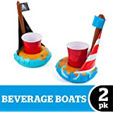 BigMouth Inc. Inflatable Boat Drink Holder Float, 2-Pack Includes Pirate Ship and Sail Boat Drink Floats