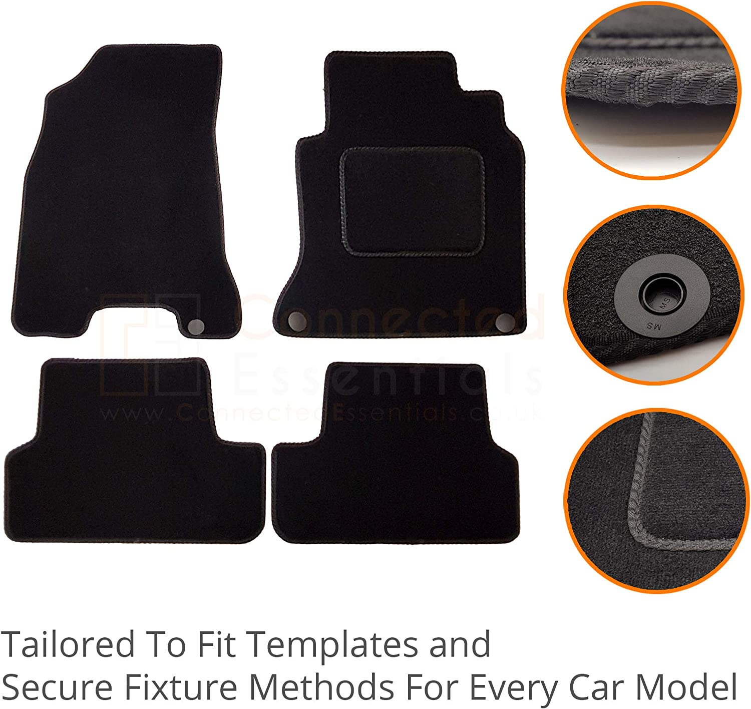 Set of 4 Connected Essentials Picanto Mk2 2011-2017 3dr /& 5dr Car Mats Prestige Black