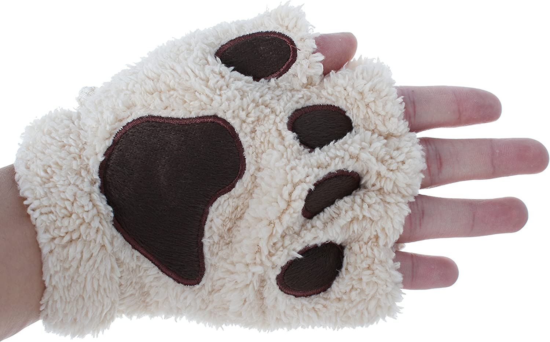 HENGSONG Niedlich Katze Klaue B/är Pfote Pl/üsch Fingerlose Handschuhe F/äustlinge Winter Halbfingerhandschuhe f/ür Damen M/ädchen
