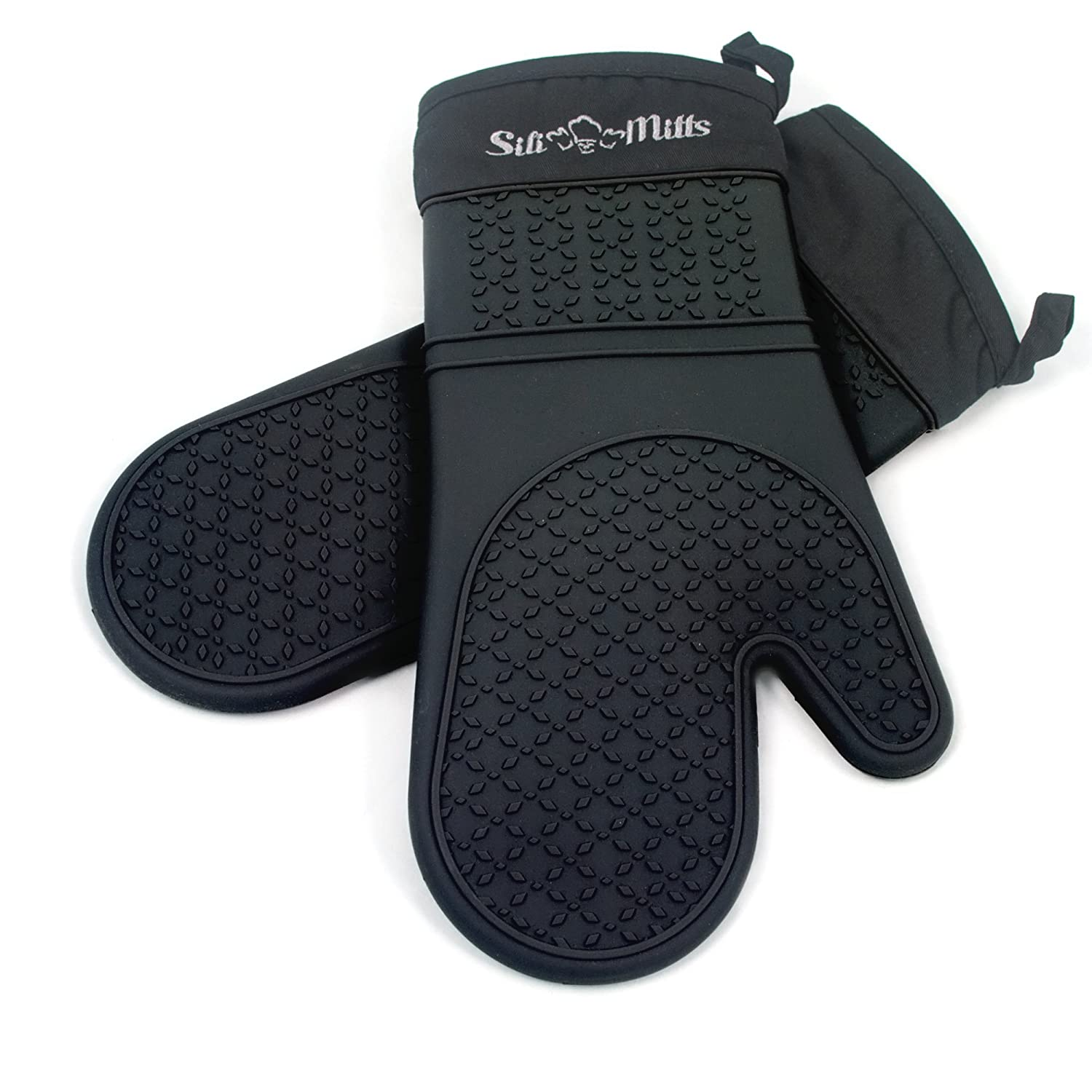 Black Silicone Oven Mitts - 1 Pair of Extra Long Professional Heat Resistant Potholder Gloves - Oven Mitt Set of 2