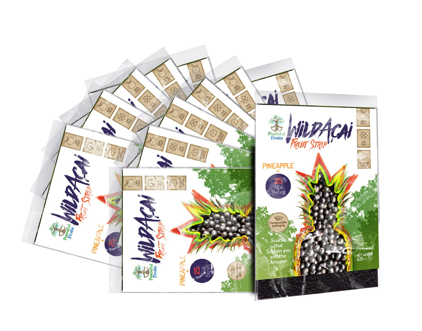 Peaceful Fruits 100% Fruit Wild Acai Super-fruit Strips with Pineapple (pack of 12 snacks)